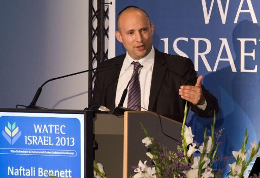 Israel's Economics and Trade Minister Naftali Bennett, leader of the Jewish Home party, speaks during a conference as part of the WATEC Water Technology Exhibition Tel Aviv, on October 22, 2013
