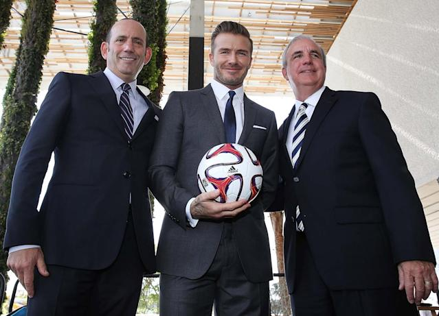 MLS commissioner Don Garber, David Beckham and Miami Mayor Carlos Gimenez announced MLS expansion plans on February 5, 2014. (Getty Images)