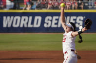 Oklahoma's Nicole May pitches in the first inning against Florida State during the first game of the NCAA Women's College World Series softball championship series Tuesday, June 8, 2021, in Oklahoma City. (AP Photo/Sue Ogrocki)