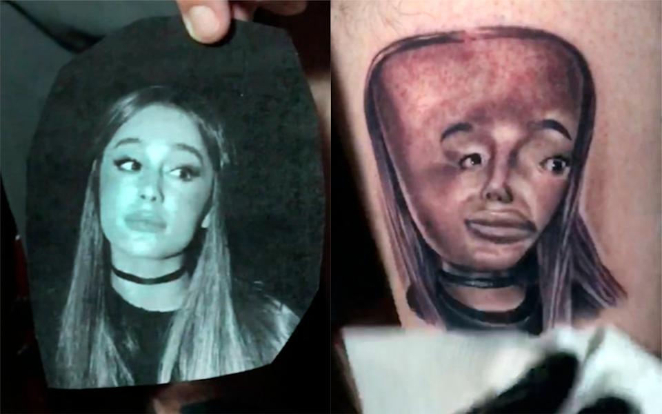 A tattoo artist was asked to ink a purposefully bad portrait of Ariana Grande [Photo: Caters]