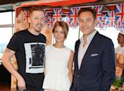 LONDON, ENGLAND - JULY 28: (L to R) Professor Green, Millie Mackintosh and David Walliams attend the 'Walkers 'Do Us A Flavour' finalists launch at Paramount, Centre Point on July 28, 2014 in London, England. (Photo by David M. Benett/Getty Images)