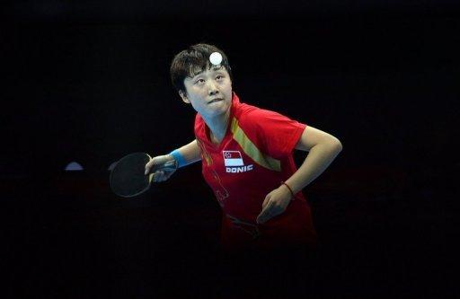 Singapore's Feng Tianwei competes during the women's team table tennis bronze medal match against South Korea at the London Olympics on August 7. Feng ended Singapore's half-century wait for an individual medal with bronze in the women's table tennis
