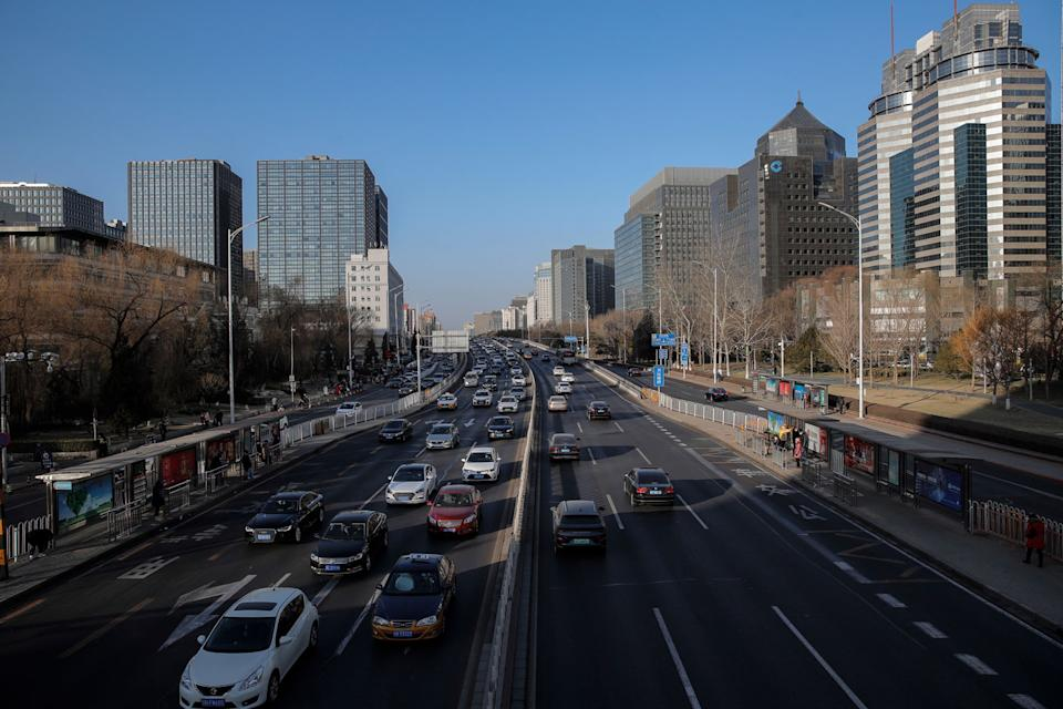 Cars on a main road in Beijing, China, on January 15, 2021, amid the coronavirus pandemic.