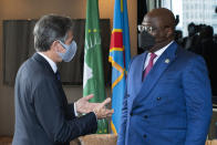 U.S. Secretary of State Antony Blinken, left, speaks with Democratic Republic of the Congo President Félix Tshisekedi during a meeting on the sidelines of the 76th Session of the U.N. General Assembly in New York, Thursday, Sept. 23, 2021. (Eduardo Munoz/Pool Photo via AP)