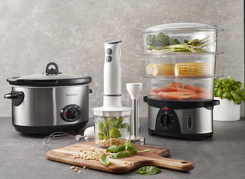 Kitchen appliances like this slow cooker, stick mixer and three-tier food steamer will be on sale. Source: Coles