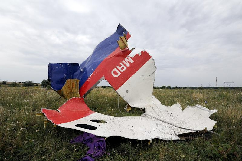Part of the wreckage of the Malaysia Airlines flight MH17 in Shaktarsk, eastern Ukraine, a day after it crashed, on July 18, 2014