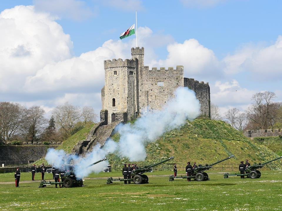 View of the first shot during a gun salute at Cardiff CastleReuters