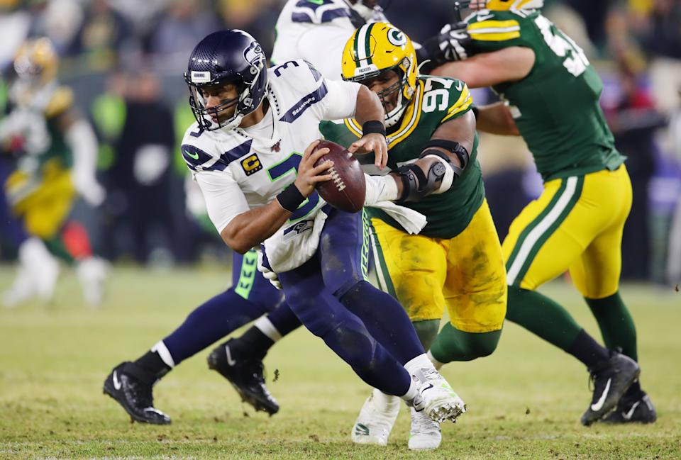 Russell Wilson played great in the second half but couldn't lead a comeback win. (Photo by Gregory Shamus/Getty Images)