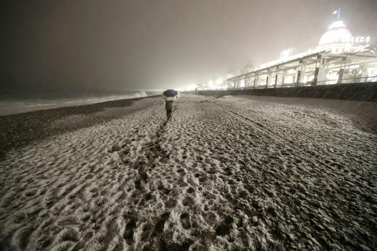 The cold weather did not spare even Mediterranean beaches, with a thick blanket of snow covering the Promenade des Anglais in Nice