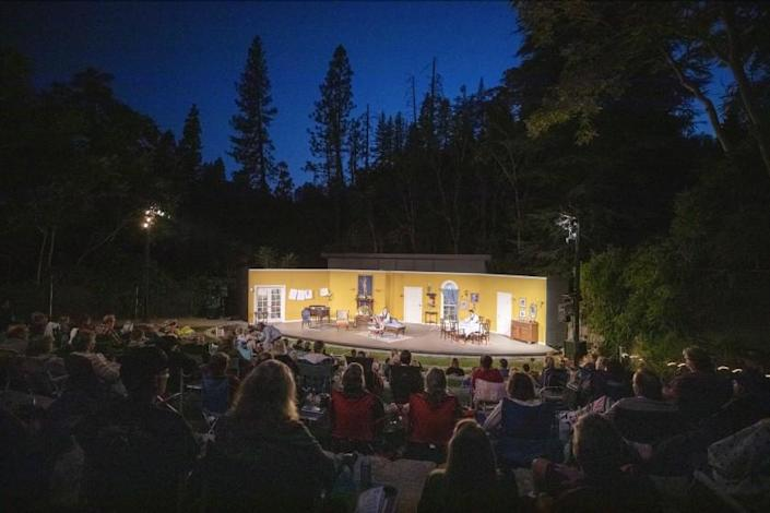 """VOLCANO, CA - SEPTEMBER 03: The Volcano Theatre Company performed Noel Coward's """"Hay Fever"""" to a nearly packed amphitheatre"""