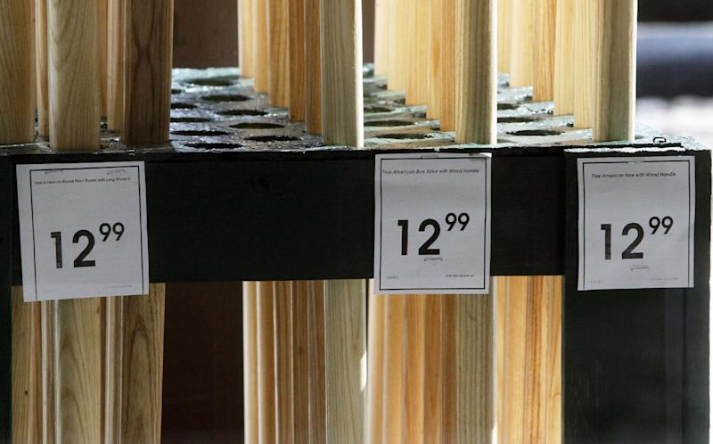This Tuesday, Feb. 26, 2013 photo shows price tags on merchandise at the Aubuchon Hardware store in Montpelier, Vt. A spike in gas prices drove a measure of U.S. consumer costs up in February by the most in more than three years, according to data released Friday, March 15, 2013, by the Labor Department. But outside the gain in fuel, inflation was mostly modest. (AP Photo/Toby Talbot)