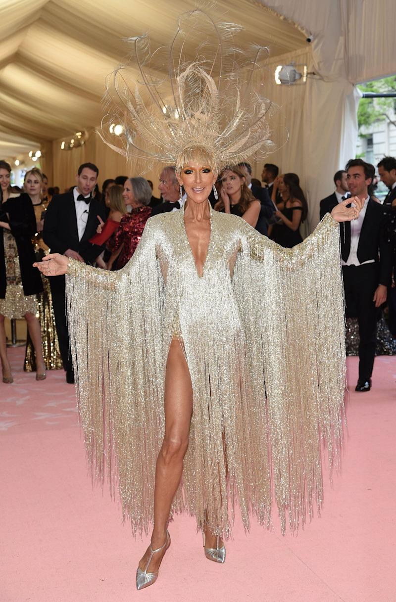 """Celine Dion attends The Metropolitan Museum of Art's Costume Institute benefit gala celebrating the opening of the """"Camp: Notes on Fashion"""" exhibition on Monday, May 6, 2019, in New York. (Photo by Evan Agostini/Invision/AP)"""