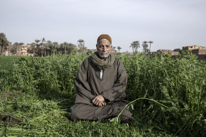Yassin Saeed 76, an Egyptian farmer sits on a plot of land in the town of Atfih, Giza, Egypt, Tuesday, Jan. 12, 2021. Saeed remembers when the Nile's annual flood drenched his village in the years before the construction of Aswan High Dam. Then came the dam, which officially opened after more than a decade of construction on January 15, 1971. Since then, crops grow year-round, but it also displaced members of the country's Nubian minority and had a lasting environmental impact on the region. (AP Photo/Nariman El-Mofty)