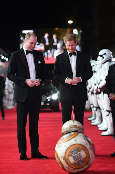 "William and Harry were greeted by stormtroopers and the droid BB-8 as they arrived at London's Royal Albert Hall for the European premiere of ""The Last Jedi"""