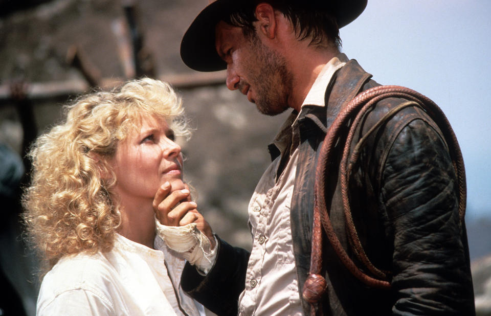 Kate Capshaw says goodbye to Harrison Ford in a scene from the film 'Indiana Jones And The Temple Of Doom', 1984. (Photo by Paramount/Getty Images)