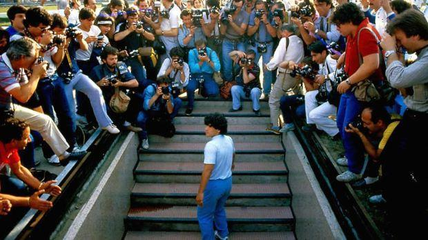 Diego Armando Maradona enters the San Paolo Stadium for the first time