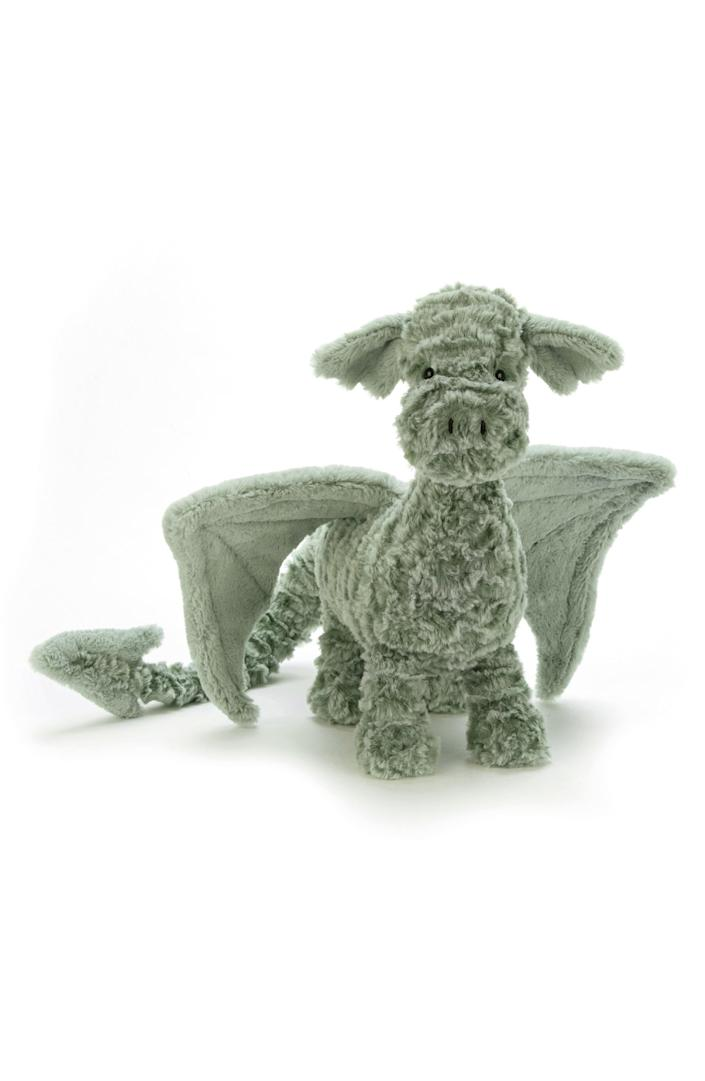 """<p><strong>JELLYCAT</strong></p><p>nordstrom.com</p><p><strong>$45.00</strong></p><p><a href=""""https://go.redirectingat.com?id=74968X1596630&url=https%3A%2F%2Fshop.nordstrom.com%2Fs%2Fjellycat-drake-dragon-stuffed-animal%2F4995734&sref=https%3A%2F%2Fwww.bestproducts.com%2Fparenting%2Fg37696840%2Fgifts-for-5-year-old-boys%2F"""" rel=""""nofollow noopener"""" target=""""_blank"""" data-ylk=""""slk:Shop Now"""" class=""""link rapid-noclick-resp"""">Shop Now</a></p><p>What better gift for 5-year-old boys is there than a cuddly Dragon plush? Whether your little knight wants to battle a dragon or make one his friend, Drake is the perfect toy for whimsical playtime. Made of chenille, Drake is also unbelievably soft and a perfect beast to cuddle.</p>"""