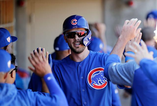 A healthy Kris Bryant is appealing in the third round (AP/Elaine Thompson)