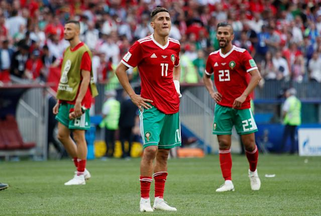 Soccer Football - World Cup - Group B - Portugal vs Morocco - Luzhniki Stadium, Moscow, Russia - June 20, 2018 Morocco's Faycal Fajr looks dejected after the match REUTERS/Maxim Shemetov