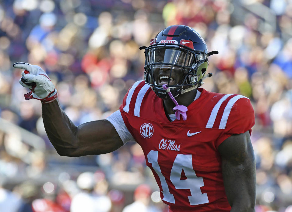 Mississippi wide receiver D.K. Metcalf is third in the SEC in receiving yards (569). (AP Photo/Thomas Graning)