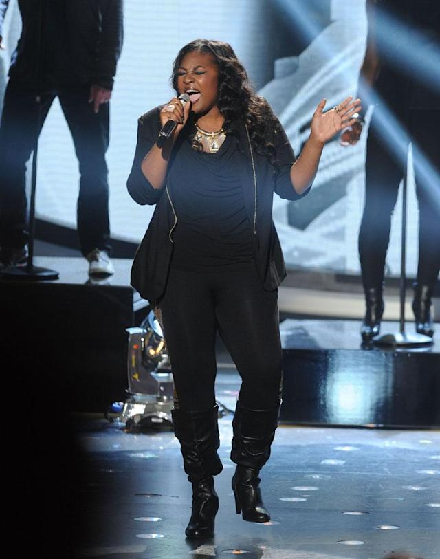 "Candice Glover performs The Rolling Stone's ""(I Can't Get No) Satisfaction"" on the Wednesday, April 3 episode of ""American Idol."""