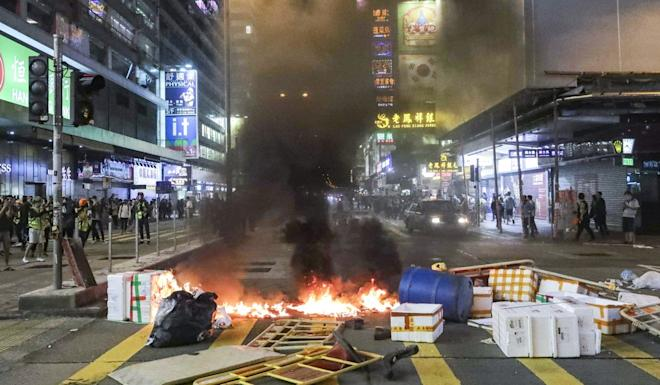 A street in Mong Kok, blocked by protesters' barricades. Photo: Edmond So
