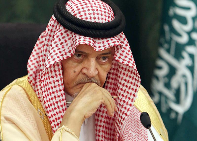 Saudi Foreign Minister Prince Saud al-Faisal looks on during a press conference with his German counterpart Frank-Walter Steinmeier (unseen) in Jeddah, on October 13, 2014 (AFP Photo/)