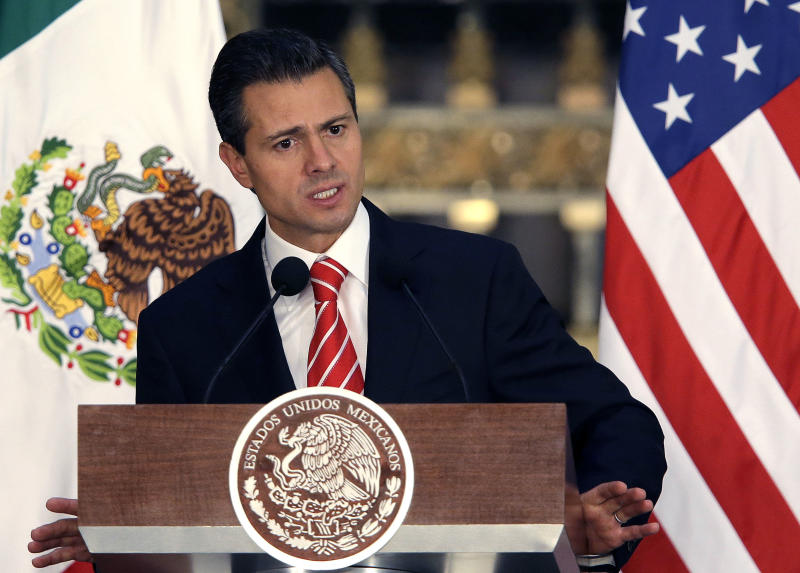 FILE - In this May 2, 2013 file photo, Mexico's President Enrique Pena Nieto speaks during a news conference in Mexico City, Mexico. Teachers' protests that have snarled traffic, blocked government buildings and prompted the cancellation of sports events in Mexico City have prompted Pena Nieto to change the date of his state-of-the-union address that was scheduled for Sunday, Sept. 1, 2013. That's the same day a dissident teachers' union plans the latest in a series of protests against the president's proposed education reform. (AP Photo/Dario Lopez-Mills, File)