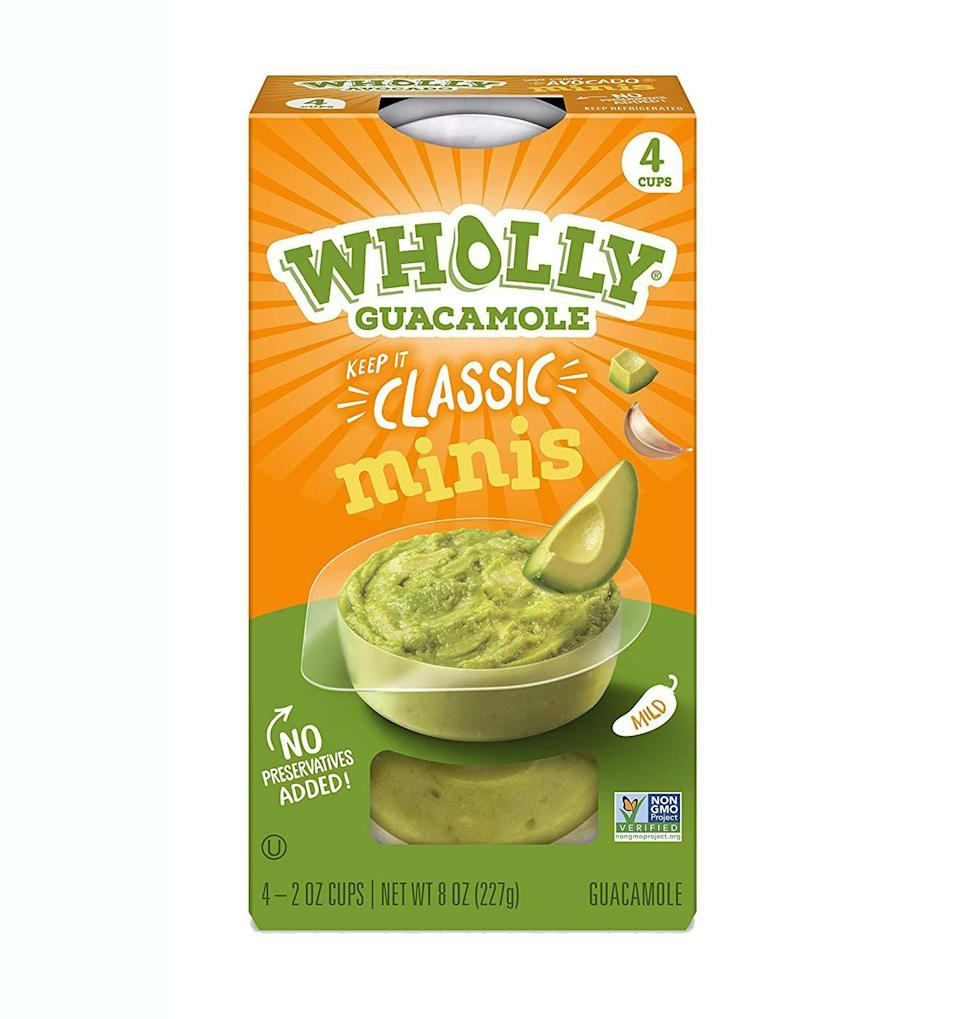 """<p><strong>Wholly Guacamole</strong></p><p><a href=""""http://www.amazon.com/dp/B019QJB61M/?tag=syn-yahoo-20&ascsubtag=%5Bartid%7C2141.g.37871941%5Bsrc%7Cyahoo-us"""" rel=""""nofollow noopener"""" target=""""_blank"""" data-ylk=""""slk:Shop Now"""" class=""""link rapid-noclick-resp"""">Shop Now</a></p><p>Grab your guac singles and some veggies, and head right into snack mode. These mini packs have a ton of flavor, but are low-carb and convenient. If you're looking for a fresher option, try half an avocado with everything bagel seasoning sprinkled on. """"That's delicious and is going to give you fiber and monounsaturated fat,"""" Harris-Pincus says. </p>"""