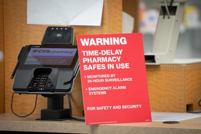 CVS Pharmacy locations now feature signs notifying customers about the chain's time-delay safe technology to help deter pharmacy robberies and diversion of controlled substance narcotic medications. (PRNewsfoto/CVS Pharmacy)