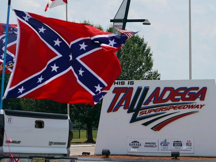 Fans fly a Confederate flag outside of the Talladega Superspeedway.