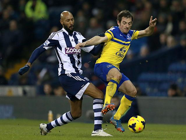 Everton's Leighton Baines, right, and West Bromwich Albion's Nicolas Anelka battle for the ball during their English Premier League soccer match at The Hawthorns, West Bromwich, England, Monday, Jan. 20, 2014. (AP Photo/PA, David Davies)