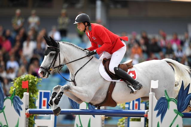 Equestrian - FEI European Championships 2017 - Jumping Individual Final - Ullevi Stadium, Gothenburg, Sweden - August 27, 2017 - Martin Fuchs of Switzerland on his horse Clooney 51 jumps. TT News Agency/Pontus Lundahl via REUTERS ATTENTION EDITORS - THIS IMAGE WAS PROVIDED BY A THIRD PARTY. SWEDEN OUT. NO COMMERCIAL OR EDITORIAL SALES IN SWEDEN