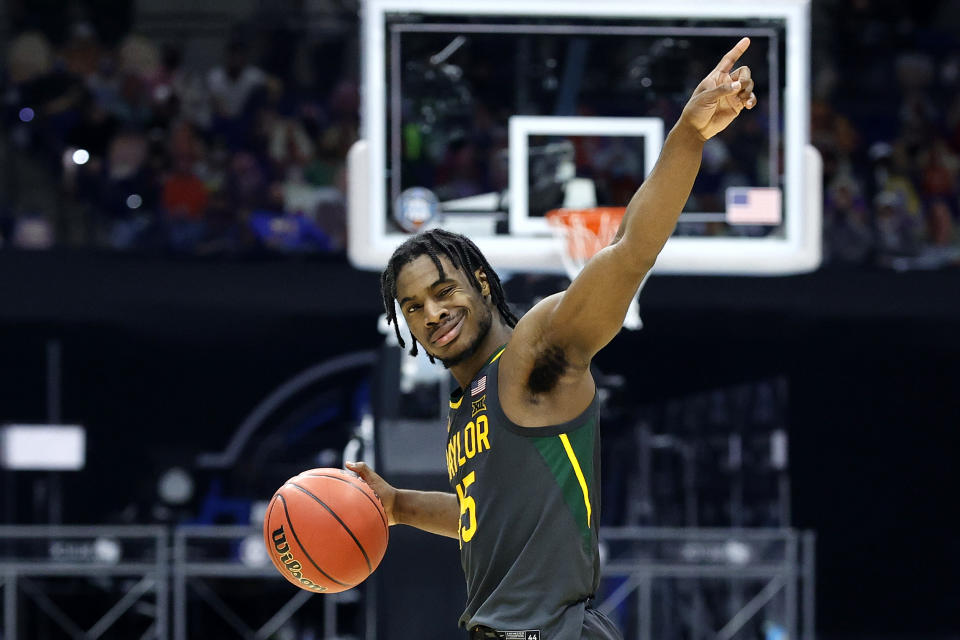 INDIANAPOLIS, INDIANA - APRIL 05: Davion Mitchell #45 of the Baylor Bears reacts in the second half of the National Championship game of the 2021 NCAA Men's Basketball Tournament against the Gonzaga Bulldogs at Lucas Oil Stadium on April 05, 2021 in Indianapolis, Indiana. (Photo by Tim Nwachukwu/Getty Images)