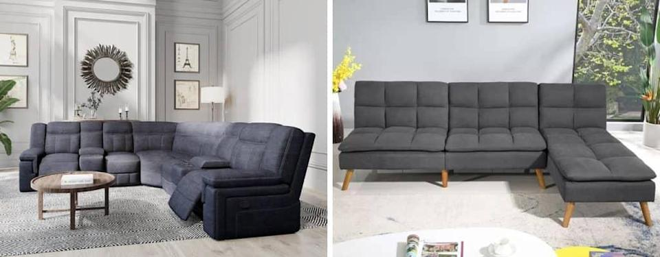 Wide Revolution Performance Fabrics Symmetrical Reclining Corner Sectional and Esterly 98 Wide Sofa Hashtag Home