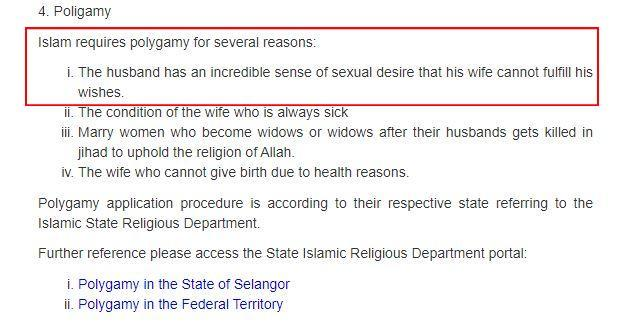 Screenshot of the text on polygamy by MyGovernment