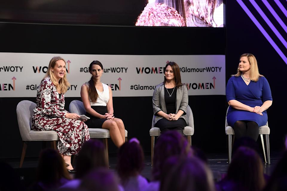 Angela Povilaitis, Rachael Denhollander, Andrea Munford, and Judge Rosemarie Aquilina discuss the Larry Nassar trial at Glamour's 2018 Women of the Year Summit.