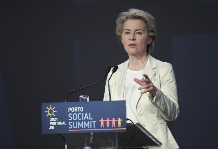 European Commission President Ursula von der Leyen speaks during the opening ceremony of an EU summit at the Alfandega do Porto Congress Center in Porto, Portugal, Friday, May 7, 2021. European Union leaders are meeting for a summit in Portugal on Friday, sending a signal they see the threat from COVID-19 on their continent as waning amid a quickening vaccine rollout. Their talks hope to repair some of the damage the coronavirus has caused in the bloc, in such areas as welfare and employment. (AP Photo/Luis Vieira, Pool)