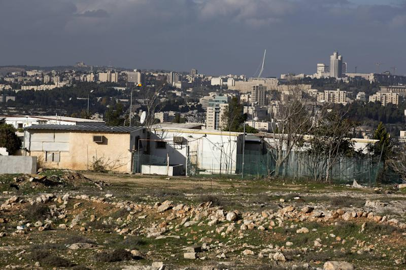 Caravans are seen in Givat HaMatos, a Jewish settlement suburb of annexed east Jerusalem, on December 19, 2012