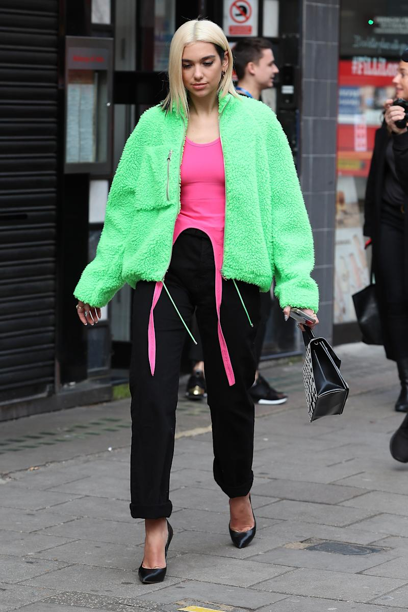 Dua Lipa Steps Out in London with a New Platinum Bob