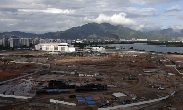 An aerial shot shows the construction ongoing at the Olympic Park in Rio de Janeiro March 28, 2014. Rio de Janeiro will host the 2016 Olympic Games. REUTERS/Ricardo Moraes (BRAZIL - Tags: SPORT OLYMPICS BUSINESS CONSTRUCTION)
