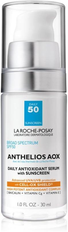 """<p>""""Having both acne and sensitive skin made finding the right sunscreen hard. I finally came across the <a href=""""https://www.popsugar.com/buy/La-Roche-Posay-Anthelios-AOX-Daily-Antioxidant-Serum-SPF-50-585352?p_name=La%20Roche-Posay%20Anthelios%20AOX%20Daily%20Antioxidant%20Serum%20SPF%2050&retailer=ulta.com&pid=585352&price=43&evar1=bella%3Aus&evar9=47580543&evar98=https%3A%2F%2Fwww.popsugar.com%2Fbeauty%2Fphoto-gallery%2F47580543%2Fimage%2F47581037%2FLa-Roche-Posay-Anthelios-AOX-Daily-Antioxidant-Serum-SPF-50&list1=beauty%20products%2Csunscreen%2Ceditors%20pick%2Csummer%2Cskin%20care&prop13=mobile&pdata=1"""" class=""""link rapid-noclick-resp"""" rel=""""nofollow noopener"""" target=""""_blank"""" data-ylk=""""slk:La Roche-Posay Anthelios AOX Daily Antioxidant Serum SPF 50"""">La Roche-Posay Anthelios AOX Daily Antioxidant Serum SPF 50</a> ($43) a few years ago, and now <a href=""""https://www.popsugar.com/beauty/La-Roche-Posay-Sunscreen-Review-44709594"""" class=""""link rapid-noclick-resp"""" rel=""""nofollow noopener"""" target=""""_blank"""" data-ylk=""""slk:I can't live without it"""">I can't live without it</a>. The lightweight texture doesn't feel heavy, greasy, or have one of those awful scents. I put it on right before my liquid foundation and its actually a great base primer, too. It feels like I'm wearing nothing at all, which I think is the ultimate goal when it comes to face sunscreen."""" - Krista Jones, associate editor, shop</p>"""