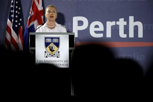 US Secretary of State Hillary Clinton speaks at the University of Western Australia in Perth