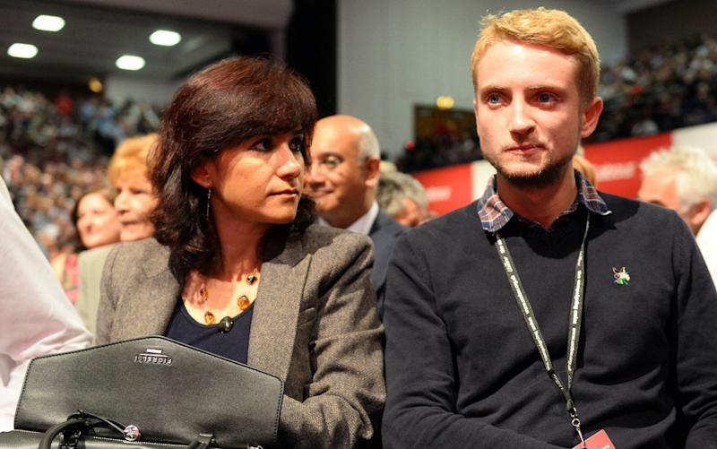 Mr Corbyn's wife and son pictured at the Labour Party conference in 2015 - Rex Features