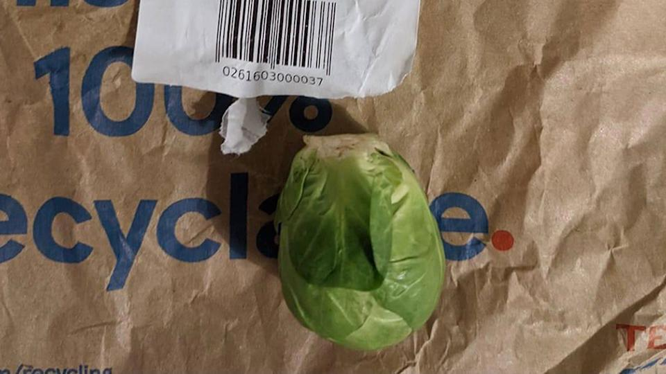 A man expected more than just one sprout when he ordered his food online from Tesco. Source: Twitter/@jamesmurden