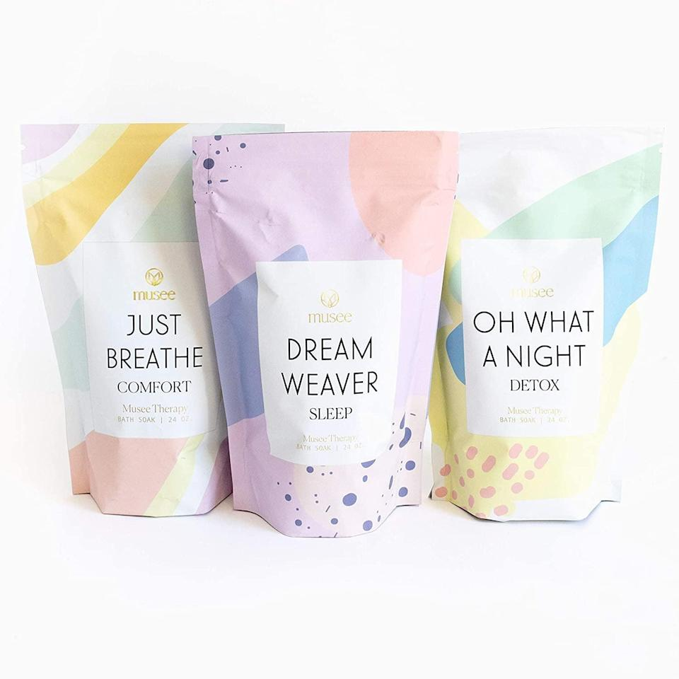 <p>If it seems like you're constantly struggling to wind down before bed, you might benefit from the variety in this <span>Musee Therapy Bath Soak Set</span> ($66). It comes with three different bath salts, all intended to help you fall asleep faster.</p>