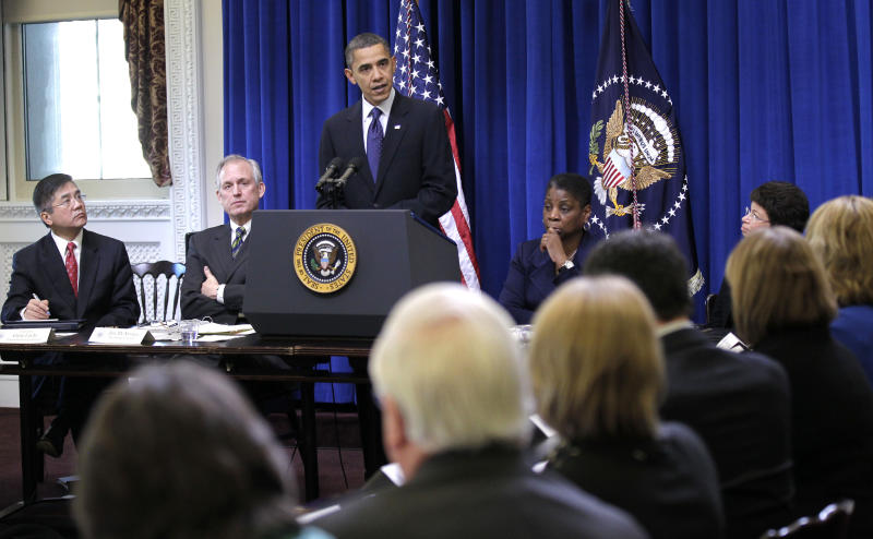 President Barack Obama holds a meeting with the President's Export Council, Thursday, Dec. 9, 2010, in the Executive Office Building, on the White House campus in Washington. From left are,  Commerce Secretary Gary Locke, Boeing Chairman, President and CEO Jim McNerney, Jr., the president, Xerox CEO Ursula Burns, and White House Senior Adviser Valerie Jarrett. (AP Photo/Pablo Martinez Monsivais)