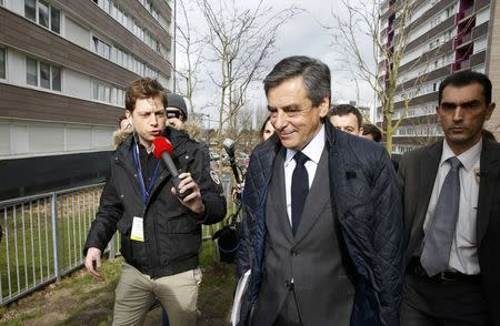 Francois Fillon, former French prime minister, member of The Republicans political party and 2017 presidential election candidate of the centre-right, visits a neighborhood as he campaigns in Tourcoing