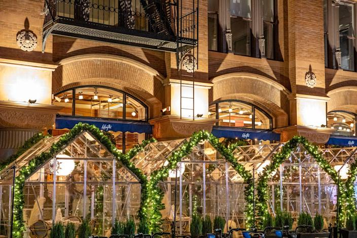 <p>While dining outdoors in the heart of winter is commonplace in Europe, it's not something that has ever taken root in the United States—not even in New York City. But with indoor dining temporarily prohibited and gourmands still looking for a night out, the sidewalks of New York have come to life with open air dining rooms everywhere you look, even during the coldest months of the year. A few notable ones have gone the extra mile and created striking environments that provide safety while also delighting the eyes and palette.</p>