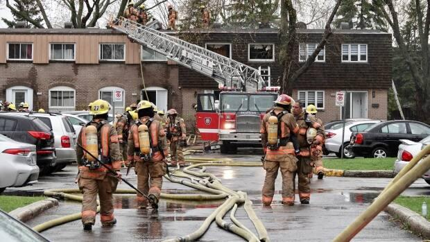 Two people were found on the scene but only one could be resuscitated, says a section chief with Montreal's fire department. (Mathieu Wagner/Radio-Canada - image credit)